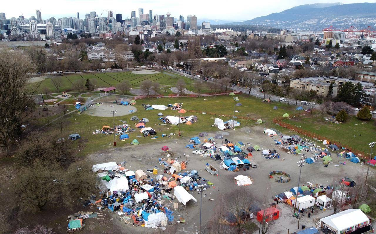 A homeless camp is pictured in Strathcona Park in Vancouver. British Columbia's housing minister says campers in Vancouver's Strathcona Park can either choose to accept the housing on offer or leave the park. THE CANADIAN PRESS/Jonathan Hayward